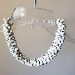 Zara white chunky modern chain necklace